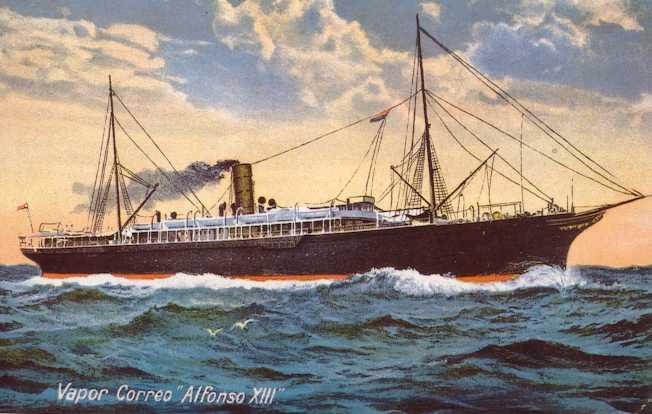 """(barco.jpg) Cuadro donde se ve lateralmente un vapor surcando el mar, puede leerse al pie del cuadro """"Vapor Correo Alfonso XIII"""""""